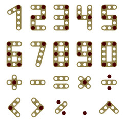 Numbers and signs made of sections and screws