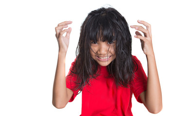 Stressed out young Asian girl over white background