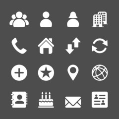 website contact icon set, vector eps10
