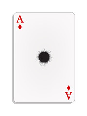 Ace of diamonds with bullet hole