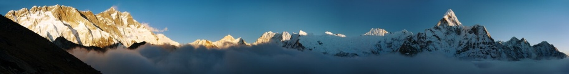 Evening view of Ama Dablam, Lhotse, Nuptse and Makalu