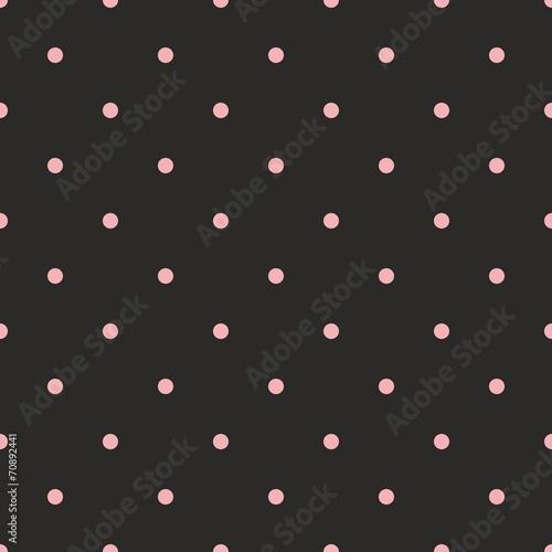 Tile vector pattern pink polka dots on black background - 70892441
