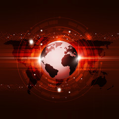 Global Communication Technology Red Background