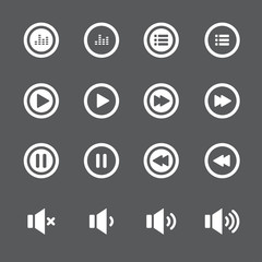 audio and music bold icon set,  vector eps10
