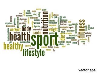 Vector conceptual health word cloud