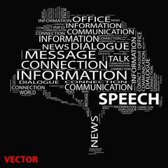 Vector conceptual tree word cloud