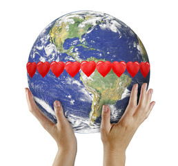 Love in world.Elements of this image furnished by NASA