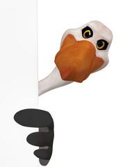 Stork holding blank frame