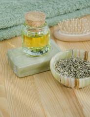 Dried herbs, oil and organic soap for skincare and haircare