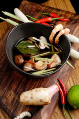 Thai hot and sour soup Tom Yum with shrimps