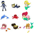 Underwater cartoon characters and objects collection icon set (v - 70894483