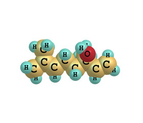 Linalool molecule isolated on white
