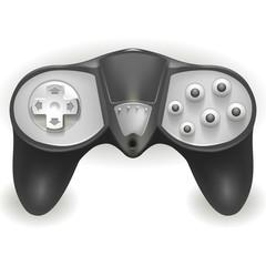 серый джойстик для игры на белом фоне