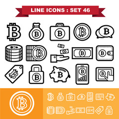 Bitcoin Line icons set 46