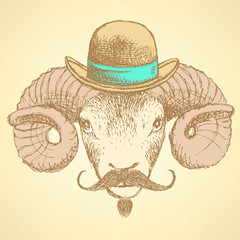 Sketch cute ram in hipster style