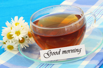 Good morning card with cup of tea and white daisies
