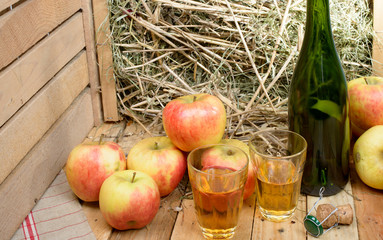 two glasses of cider with some apples