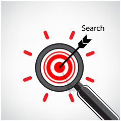 magnifying glass and target concept background