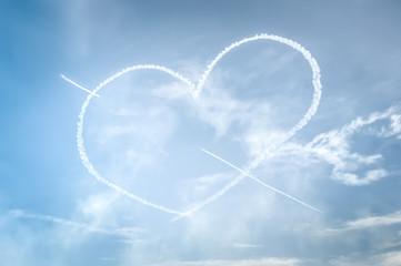 love heart written in the sky