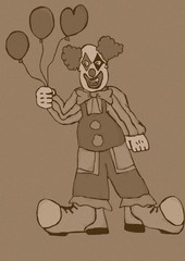 Clown with balloons vintage
