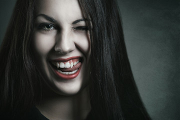 Evil expression on vampire face