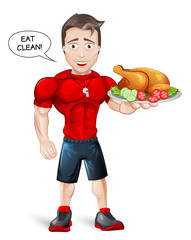Cartoon Fitness Coach with healthy meal