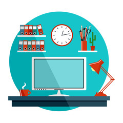 Flat vector illustration with office things, equipment