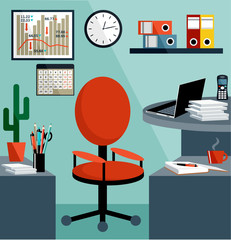 Business workplace with office things