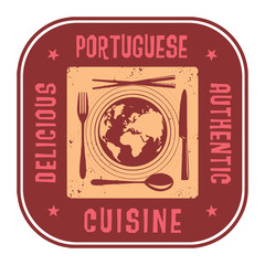 Abstract stamp with the text Authentic Portuguese Cuisine