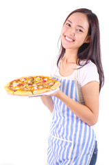 Asian girl show and holding seafood pizza in smile face