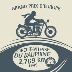 Vintage Motorcycle sport label, vector
