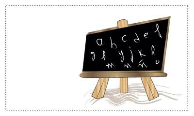Pizarra con letras