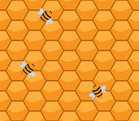 orenge honneycomb with bee