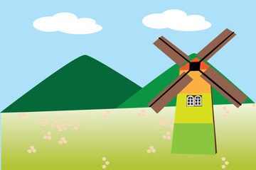 Single windmill and view