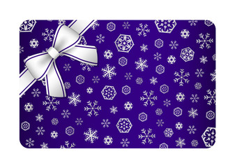Dark blue Christmas card with silver snow flakes