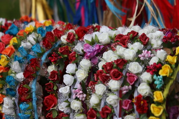 wreaths of flowers to decorate the head and hair of girls