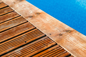 swimming pool with treated wood damaged