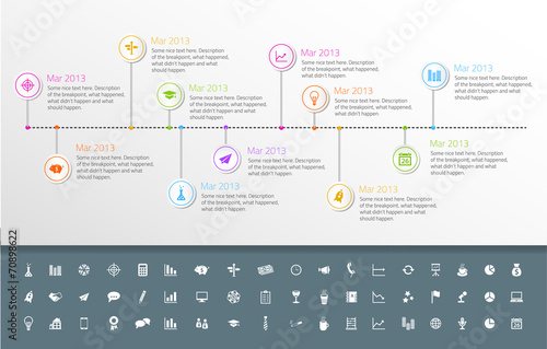 Timeline template in sticker style with set of icons.