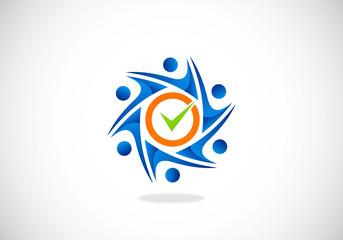 circle people mark choice group vector logo