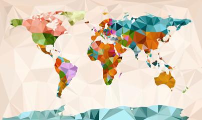 World map, vector geometric design