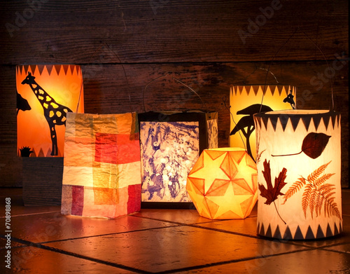 Poster Different handmade lanterns, Sankt Martin