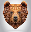 Grizzly Bear head vector isolated geometric illustration