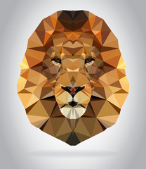Lion head vector isolated geometric illustration