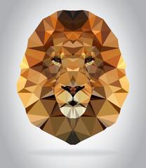 Lion head vector isolated geometric illustration