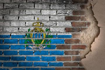 Dark brick wall with plaster - San Marino