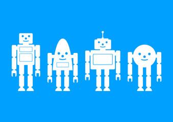 White robot icons on blue background
