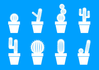 White cactus icons on blue background