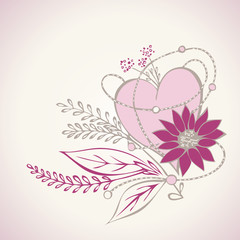 Decorative floral heart illustration for Greeting card