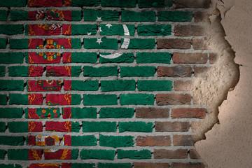 Dark brick wall with plaster - Turkmenistan
