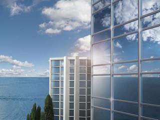 Wolkenkratzer am Strand